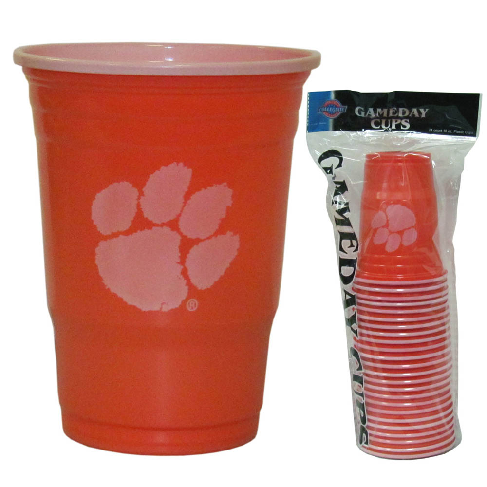 Clemson Tigers Plastic Game Day Cups - Our 18 ounce game day cups are what every tailgating or backyard events needs! The cups feature a big Clemson Tigers logo so you can show off your team pride. The popular 18 ounce size is perfect for drinks or ping pong balls! Sold in sleeves of 18 cups.