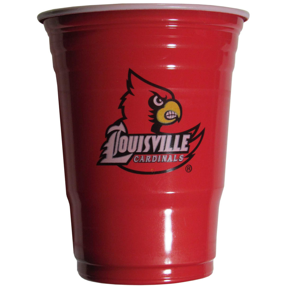 Louisville Cardinals Plastic Game Day Cups 2 sleeves of 18 (36 Cups) - Our 18 ounce game day cups are what every tailgating or backyard events needs! The cups feature a big Louisville Cardinals logo so you can show off your team pride. The popular 18 ounce size is perfect for drinks or ping pong balls! 2 sleeves of 18 cups, 36 cups in total.