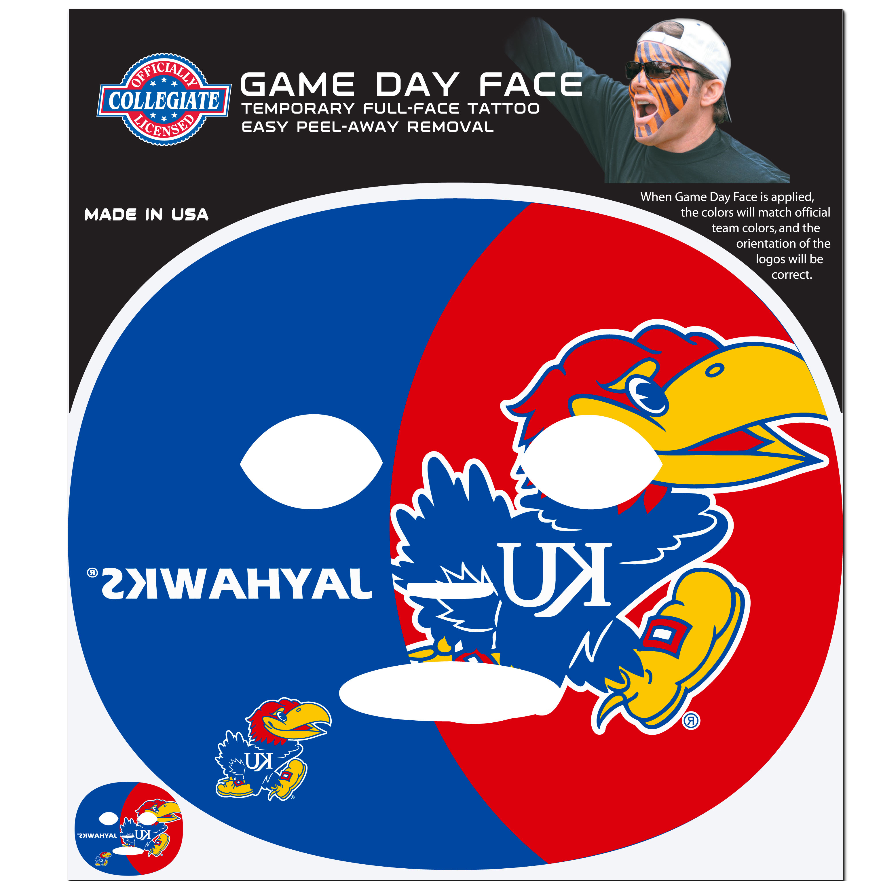 Kansas Jayhawks Game Face Temporary Tattoo - No better way to show your Kansas Jayhawks pride than by painting your face. Siskiyou's Game Day Face Temporary Tattoo isn't your typical face paint. It is a water based application that doesn't smudge, smear or sweat off  while you're wearing it and easily peels off after you're done celebrating your team's big Win! The temporary tattoo is large enough to trim down to fit your face.  Our Game Day Face Temporary Tattoo's are fun for fans of all ages. You may have seen our product before,  these are the same Temporary Face Tattoos as pitched on ABC's Shark Tank.