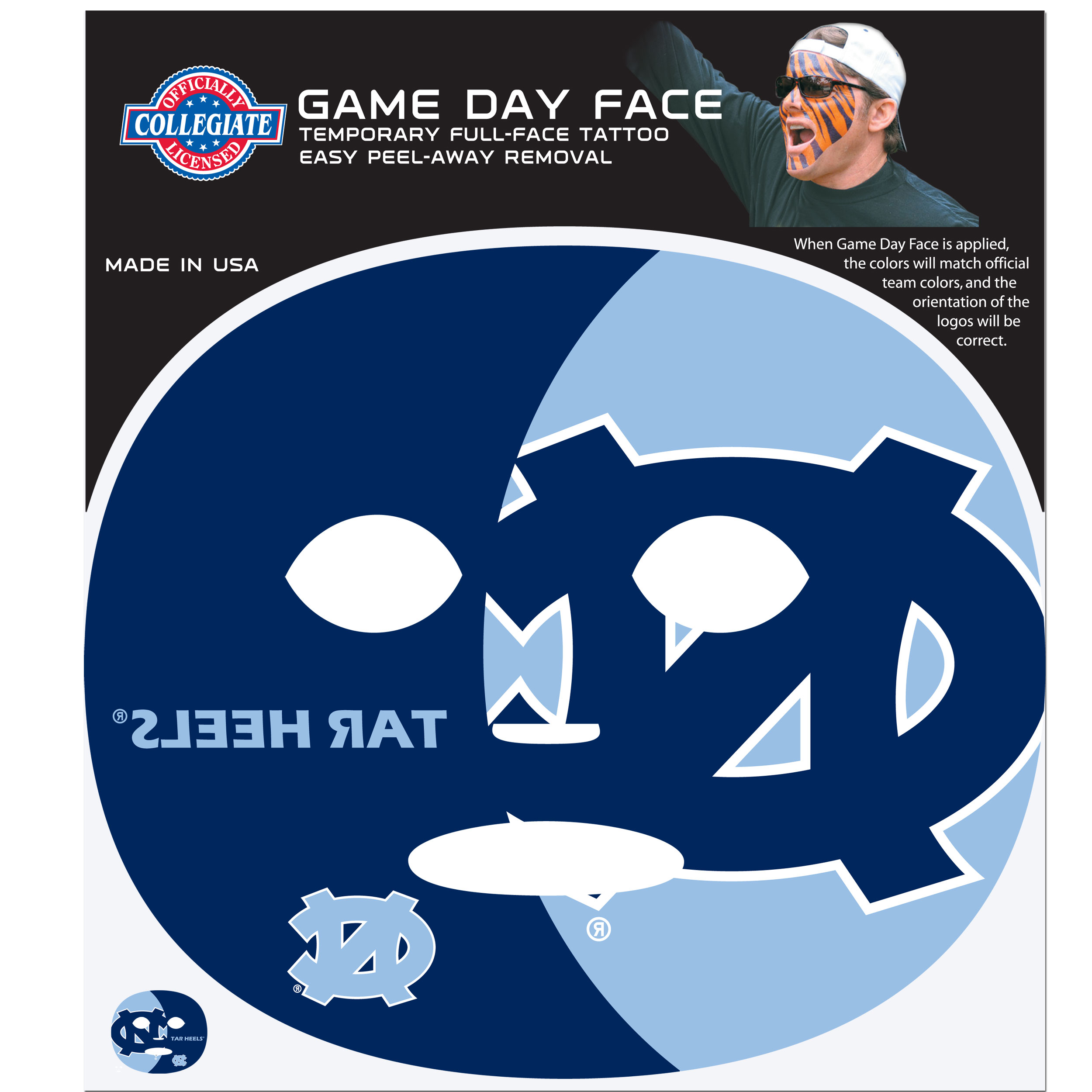 N. Carolina Tar Heels Game Face Temporary Tattoo - No better way to show your N. Carolina Tar Heels pride than by painting your face. Siskiyou's Game Day Face Temporary Tattoo isn't your typical face paint. It is a water based application that doesn't smudge, smear or sweat off  while you're wearing it and easily peels off after you're done celebrating your team's big Win! The temporary tattoo is large enough to trim down to fit your face.  Our Game Day Face Temporary Tattoo's are fun for fans of all ages. You may have seen our product before,  these are the same Temporary Face Tattoos as pitched on ABC's Shark Tank.