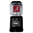 Alabama Crimson Tide Black Gumball/Candy Machine - Craving something sweet? Then just reach for your very own Alabama Crimson Tide gumball machine! This fun gumball machine accepts nickels, dimes or quarters and can be set for free dispensing. The glass globe is 4 inches wide and tall and can be used for any gumballs or candy that is less than 1/2 inch. The cast metal base is sturdy and features a chrome metal coin receptacle and turn handle. The classic novelty item is perfect for your desk at work, dorm room or game room.