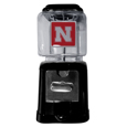 Nebraska Cornhuskers Black Gumball/Candy Machine - Craving something sweet? Then just reach for your very own Nebraska Cornhuskers gumball machine! This fun gumball machine accepts nickels, dimes or quarters and can be set for free dispensing. The glass globe is 4 inches wide and tall and can be used for any gumballs or candy that is less than 1/2 inch. The cast metal base is sturdy and features a chrome metal coin receptacle and turn handle. The classic novelty item is perfect for your desk at work, dorm room or game room.