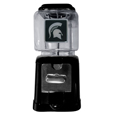 Michigan St. Spartans Black Gumball/Candy Machine - Craving something sweet? Then just reach for your very own Michigan St. Spartans Black Gumball/Candy Machine! This fun Michigan St. Spartans Black Gumball/Candy Machine accepts nickels, dimes or quarters and can be set for free dispensing. The glass globe is 4 inches wide and tall and can be used for any gumballs or candy that is less than 1/2 inch. The Michigan St. Spartans Black Gumball/Candy Machine cast metal base is sturdy and features a chrome metal coin receptacle and turn handle. The Michigan St. Spartans Black Gumball/Candy Machine classic novelty item is perfect for your desk at work, dorm room or game room.