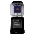 LSU Tigers Black Gumball/Candy Machine - Craving something sweet? Then just reach for your very own LSU Tigers Black Gumball/Candy Machine! This fun LSU Tigers Black Gumball/Candy Machine accepts nickels, dimes or quarters and can be set for free dispensing. The glass globe is 4 inches wide and tall and can be used for any gumballs or candy that is less than 1/2 inch. The cast metal base is sturdy and features a chrome metal coin receptacle and turn handle. The classic novelty LSU Tigers Black Gumball/Candy Machine is perfect for your desk at work, dorm room or game room.