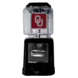 Oklahoma Sooners Black Gumball/Candy Machine - Craving something sweet? Then just reach for your very own Oklahoma Sooners gumball machine! This fun gumball machine accepts nickels, dimes or quarters and can be set for free dispensing. The glass globe is 4 inches wide and tall and can be used for any gumballs or candy that is less than 1/2 inch. The cast metal base is sturdy and features a chrome metal coin receptacle and turn handle. The classic novelty item is perfect for your desk at work, dorm room or game room.
