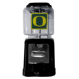 Oregon Ducks Black Gumball/Candy Machine - Craving something sweet? Then just reach for your very own Oregon Ducks gumball machine! This fun gumball machine accepts nickels, dimes or quarters and can be set for free dispensing. The glass globe is 4 inches wide and tall and can be used for any gumballs or candy that is less than 1/2 inch. The cast metal base is sturdy and features a chrome metal coin receptacle and turn handle. The classic novelty item is perfect for your desk at work, dorm room or game room.
