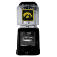 Iowa Hawkeyes Black Gumball/Candy Machine - Craving something sweet? Then just reach for your very own Iowa Hawkeyes gumball machine! This fun Iowa Hawkeyes gumball machine accepts nickels, dimes or quarters and can be set for free dispensing. The glass globe is 4 inches wide and tall and can be used for any gumballs or candy that is less than 1/2 inch. The cast metal base is sturdy and features a chrome metal coin receptacle and turn handle. The classic novelty Iowa Hawkeyes Black Gumball/Candy Machine is perfect for your desk at work, dorm room or game room.