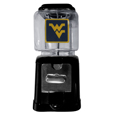 W. Virginia Mountaineers Black Gumball/Candy Machine - Craving something sweet? Then just reach for your very own W. Virginia Mountaineers gumball machine! This fun gumball machine accepts nickels, dimes or quarters and can be set for free dispensing. The glass globe is 4 inches wide and tall and can be used for any gumballs or candy that is less than 1/2 inch. The cast metal base is sturdy and features a chrome metal coin receptacle and turn handle. The classic novelty item is perfect for your desk at work, dorm room or game room.