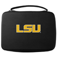 LSU Tigers GoPro Carrying Case - This LSU Tigers carrying case for GoPro cameras is the perfect balance of style and functionality. This LSU Tigers GoPro Carrying protective case is water resistant, with a water resistant zipper system making it a great way to protect your Go Pro on the go! The LSU Tigers GoPro Carrying Case has a durable insert that fits the GoPro 1,2,3,3+ and 4 plus housing, housing backdoors, SD memory card, battery, power plug, remote control, battery pack and LCD. The case has an additional mesh storage pocket for cables and additional accessories. The classic black case features a large printed team logo. Thank you for shopping with CrazedOutSports.com