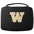 Washington Huskies GoPro Carrying Case - Our Washington Huskies carrying case for GoPro cameras is the perfect balance of style and functionality. This protective case is water resistant, with a water resistant zipper system making it a great way to protect your Go Pro on the go! The case has a durable insert that fits the GoPro 1,2,3,3+ and 4 plus housing, housing backdoors, SD memory card, battery, power plug, remote control, battery pack and LCD. The case has an additional mesh storage pocket for cables and additional accessories. The classic black case features a large printed team logo. Thank you for shopping with CrazedOutSports.com