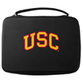 USC Trojans GoPro Carrying Case - Our USC Trojans carrying case for GoPro cameras is the perfect balance of style and functionality. This protective case is water resistant, with a water resistant zipper system making it a great way to protect your Go Pro on the go! The case has a durable insert that fits the GoPro 1,2,3,3+ and 4 plus housing, housing backdoors, SD memory card, battery, power plug, remote control, battery pack and LCD. The case has an additional mesh storage pocket for cables and additional accessories. The classic black case features a large printed team logo. Thank you for shopping with CrazedOutSports.com