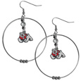 Fresno St. Bulldogs 2 Inch Hoop Earrings - Our large hoop earrings have a fully cast and enameled Fresno St. Bulldogs charm with enameled detail and a high polish nickel free chrome finish and rhinestone access. Hypoallergenic fishhook posts.
