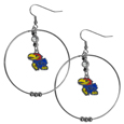 Kansas Jayhawks 2 Inch Hoop Earrings - Kansas Jayhawks 2 Inch hoop earrings have a fully cast and enameled Kansas Jayhawks charm with enameled detail and a high polish nickel free chrome finish and rhinestone access. Hypoallergenic fishhook posts.  Thank you for shopping with CrazedOutSports.com