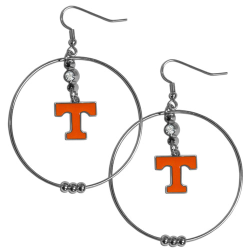 "Tennessee Hoop Earrings - ""Our college 2"""" hoop earrings have a fully cast and enameled Tennessee Volunteers emblem with enameled detail and a high polish nickel free chrome finish and rhinestone access. Hypoallergenic fishhook posts."" Thank you for shopping with CrazedOutSports.com"