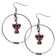 Texas Tech Raiders 2 Inch Hoop Earrings -  Our large hoop earrings have a fully cast and enameled Texas Tech Raiders charm with enameled detail and a high polish nickel free chrome finish and rhinestone access. Hypoallergenic fishhook posts.  Thank you for shopping with CrazedOutSports.com