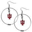 Indiana Hoosiers 2 Inch Hoop Earrings -  Our large hoop earrings have a fully cast and enameled Indiana Hoosiers charm with enameled detail and a high polish nickel free chrome finish and rhinestone access. Hypoallergenic fishhook posts.  Thank you for shopping with CrazedOutSports.com
