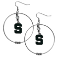Michigan St. Spartans 2 Inch Hoop Earrings - These large Michigan St. Spartans 2 Inch Hoop Earrings have a fully cast and enameled Michigan St. Spartans charm with enameled detail and a high polish nickel free chrome finish and rhinestone access. Michigan St. Spartans 2 Inch Hoop Earrings has Hypoallergenic fish hook posts.  Thank you for shopping with CrazedOutSports.com