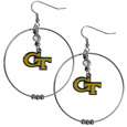 Georgia Tech Yellow Jackets 2 Inch Hoop Earrings - These Georgia Tech Yellow Jackets large hoop earrings have a fully cast and enameled Georgia Tech Yellow Jackets charm with enameled detail and a high polish nickel free chrome finish and rhinestone access. Hypoallergenic fishhook posts.  Thank you for shopping with CrazedOutSports.com