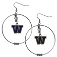 Washington Huskies 2 Inch Hoop Earrings -  Our large hoop earrings have a fully cast and enameled Washington Huskies charm with enameled detail and a high polish nickel free chrome finish and rhinestone access. Hypoallergenic fishhook posts.  Thank you for shopping with CrazedOutSports.com