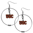 USC Trojans 2 Inch Hoop Earrings -  Our large hoop earrings have a fully cast and enameled USC Trojans charm with enameled detail and a high polish nickel free chrome finish and rhinestone access. Hypoallergenic fishhook posts.  Thank you for shopping with CrazedOutSports.com
