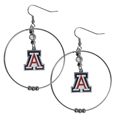 Arizona Wildcats 2 Inch Hoop Earrings -  Our large hoop earrings have a fully cast and enameled Arizona Wildcats charm with enameled detail and a high polish nickel free chrome finish and rhinestone access. Hypoallergenic fishhook posts.  Thank you for shopping with CrazedOutSports.com