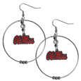 Mississippi Rebels 2 Inch Hoop Earrings -  Our large hoop earrings have a fully cast and enameled Mississippi Rebels charm with enameled detail and a high polish nickel free chrome finish and rhinestone access. Hypoallergenic fishhook posts.  Thank you for shopping with CrazedOutSports.com