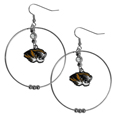 Missouri Tigers 2 Inch Hoop Earrings -  Our large hoop earrings have a fully cast and enameled Missouri Tigers charm with enameled detail and a high polish nickel free chrome finish and rhinestone access. Hypoallergenic fishhook posts.  Thank you for shopping with CrazedOutSports.com