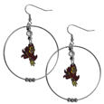 Arizona St. Sun Devils 2 Inch Hoop Earrings -  Our large hoop earrings have a fully cast and enameled Arizona State Sun Devils charm with enameled detail and a high polish nickel free chrome finish and rhinestone access. Hypoallergenic fishhook posts.  Thank you for shopping with CrazedOutSports.com