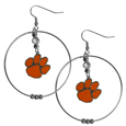 Clemson Tigers 2 Inch Hoop Earrings -  Our large hoop earrings have a fully cast and enameled Clemson Tigers charm with enameled detail and a high polish nickel free chrome finish and rhinestone access. Hypoallergenic fishhook posts.  Thank you for shopping with CrazedOutSports.com
