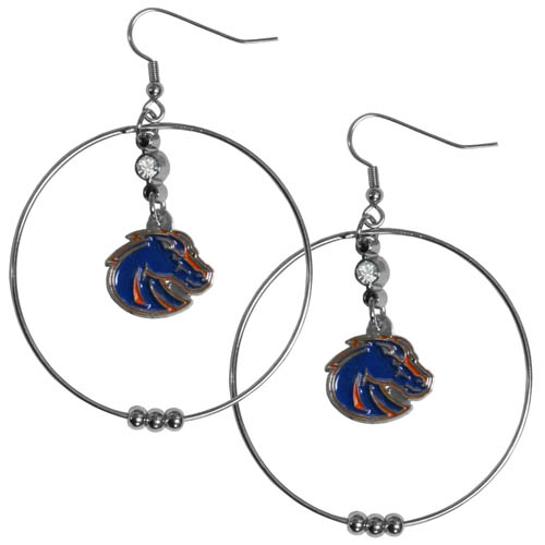"Boise St. Broncos 2"" Hoop Earrings - Our officially licensed college 2"" hoop earrings have a fully cast and enameled Alabama Crimson Tide emblem with enameled detail and a high polish nickel free chrome finish and rhinestone access. Hypoallergenic fishhook posts. Thank you for shopping with CrazedOutSports.com"