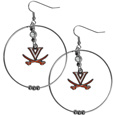 Virginia Cavaliers 2 Inch Hoop Earrings - Our large hoop earrings have a fully cast and enameled Virginia Cavaliers charm with enameled detail and a high polish nickel free chrome finish and rhinestone access. Hypoallergenic fishhook posts.
