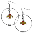Iowa St. Cyclones 2 Inch Hoop Earrings - These Iowa St. Cyclones large hoop earrings have a fully cast and enameled Iowa St. Cyclones charm with enameled detail and a high polish nickel free chrome finish and rhinestone access. Hypoallergenic fishhook posts.  Thank you for shopping with CrazedOutSports.com