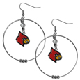 Louisville Cardinals 2 Inch Hoop Earrings - Louisville Cardinals 2 Inch Hoop Earrings have a fully cast and enameled Louisville Cardinals charm with enameled detail and a high polish nickel free chrome finish and rhinestone access. Hypoallergenic fishhook posts.  Thank you for shopping with CrazedOutSports.com