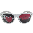 Arkansas Razorbacks I Heart Game Day Shades - Our officially licensed Arkansas Razorbacks I Heart game day shades are the perfect accessory for the devoted Arkansas Razorbacks fan! The sunglasses have durable polycarbonate frames with flex hinges for comfort and damage resistance. The lenses feature brightly colored team clings that are perforated for visibility. Thank you for shopping with CrazedOutSports.com