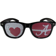 Alabama Crimson Tide I Heart Game Day Shades - Our officially licensed I Heart game day shades are the perfect accessory for the devoted Alabama Crimson Tide fan! The sunglasses have durable polycarbonate frames with flex hinges for comfort and damage resistance. The lenses feature brightly colored team clings that are perforated for visibility. Thank you for shopping with CrazedOutSports.com