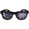 Kansas St. Wildcats I Heart Game Day Shades - These officially licensed Kansas St. Wildcats I Heart game day shades are the perfect accessory for the devoted Kansas St. Wildcats fan! The sunglasses have durable polycarbonate frames with flex hinges for comfort and damage resistance. The lenses feature brightly colored team clings that are perforated for visibility. Thank you for shopping with CrazedOutSports.com
