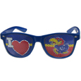 Kansas Jayhawks I Heart Game Day Shades - Our officially licensed Kansas Jayhawks I Heart game day shades are the perfect accessory for the devoted Kansas Jayhawks fan! The sunglasses have durable polycarbonate frames with flex hinges for comfort and damage resistance. The lenses feature brightly colored team clings that are perforated for visibility. Thank you for shopping with CrazedOutSports.com