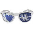 Kentucky Wildcats I Heart Game Day Shades - Our officially licensed I Heart game day shades are the perfect accessory for the devoted Kentucky Wildcats fan! The sunglasses have durable polycarbonate frames with flex hinges for comfort and damage resistance. The lenses feature brightly colored team clings that are perforated for visibility. Thank you for shopping with CrazedOutSports.com