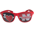 Nebraska Cornhuskers I Heart Game Day Shades - Our officially licensed I Heart game day shades are the perfect accessory for the devoted Nebraska Cornhuskers fan! The sunglasses have durable polycarbonate frames with flex hinges for comfort and damage resistance. The lenses feature brightly colored team clings that are perforated for visibility. Thank you for shopping with CrazedOutSports.com