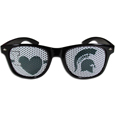 Michigan St. Spartans I Heart Game Day Sunglasses - These officially licensed Michigan St. Spartans I Heart Game Day Sunglasses are the perfect accessory for the devoted Michigan St. Spartans fan! The Michigan St. Spartans I Heart Game Day Shade sunglasses have durable polycarbonate frames with flex hinges for comfort and damage resistance. The lenses feature brightly colored team clings that are perforated for visibility. Thank you for shopping with CrazedOutSports.com