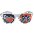 Auburn Tigers I Heart Game Day Shades - Our officially licensed I Heart game day shades are the perfect accessory for the devoted Auburn Tigers fan! The sunglasses have durable polycarbonate frames with flex hinges for comfort and damage resistance. The lenses feature brightly colored team clings that are perforated for visibility. Thank you for shopping with CrazedOutSports.com