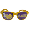 LSU Tigers I Heart Game Day Shades - These officially licensed LSU Tigers I Heart Game Day Shades are the perfect accessory for the devoted LSU Tigers fan! The sunglasses have durable polycarbonate frames with flex hinges for comfort and damage resistance. The LSU Tigers I Heart Game Day Shades has lenses that feature brightly colored team clings that are perforated for visibility. Thank you for shopping with CrazedOutSports.com