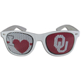 Oklahoma Sooners I Heart Game Day Shades - Our officially licensed I Heart game day shades are the perfect accessory for the devoted Oklahoma Sooners fan! The sunglasses have durable polycarbonate frames with flex hinges for comfort and damage resistance. The lenses feature brightly colored team clings that are perforated for visibility. Thank you for shopping with CrazedOutSports.com