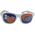 Florida Gators I Heart Game Day Shades - Our officially licensed I Heart Florida Gators game day shades are the perfect accessory for the devoted Florida Gators fan! The sunglasses have durable polycarbonate frames with flex hinges for comfort and damage resistance. The lenses feature brightly colored team clings that are perforated for visibility. Thank you for shopping with CrazedOutSports.com