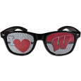 Wisconsin Badgers I Heart Game Day Shades - Our officially licensed I Heart game day shades are the perfect accessory for the devoted Wisconsin Badgers fan! The sunglasses have durable polycarbonate frames with flex hinges for comfort and damage resistance. The lenses feature brightly colored team clings that are perforated for visibility. Thank you for shopping with CrazedOutSports.com