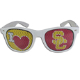 USC Trojans I Heart Game Day Shades - Our officially licensed I Heart game day shades are the perfect accessory for the devoted USC Trojans fan! The sunglasses have durable polycarbonate frames with flex hinges for comfort and damage resistance. The lenses feature brightly colored team clings that are perforated for visibility. Thank you for shopping with CrazedOutSports.com