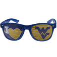 W. Virginia Mountaineers I Heart Game Day Shades - Our officially licensed I Heart game day shades are the perfect accessory for the devoted W. Virginia Mountaineers fan! The sunglasses have durable polycarbonate frames with flex hinges for comfort and damage resistance. The lenses feature brightly colored team clings that are perforated for visibility. Thank you for shopping with CrazedOutSports.com