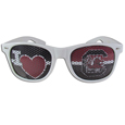 S. Carolina Gamecocks I Heart Game Day Shades - Our officially licensed I Heart game day shades are the perfect accessory for the devoted S. Carolina Gamecocks fan! The sunglasses have durable polycarbonate frames with flex hinges for comfort and damage resistance. The lenses feature brightly colored team clings that are perforated for visibility. Thank you for shopping with CrazedOutSports.com