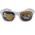 Missouri Tigers I Heart Game Day Shades - Our officially licensed I Heart game day shades are the perfect accessory for the devoted Missouri Tigers fan! The sunglasses have durable polycarbonate frames with flex hinges for comfort and damage resistance. The lenses feature brightly colored team clings that are perforated for visibility. Thank you for shopping with CrazedOutSports.com