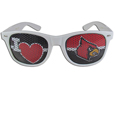 Louisville Cardinals I Heart Game Day Sunglasses - These officially licensed Louisville Cardinals I Heart game day shades are the perfect accessory for the devoted Louisville Cardinals fan! The Louisville Cardinals I Heart Game Day Shades sunglasses have durable polycarbonate frames with flex hinges for comfort and damage resistance. The lenses feature brightly colored team clings that are perforated for visibility. Thank you for shopping with CrazedOutSports.com